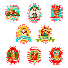 Merry Christmas holiday vector icons