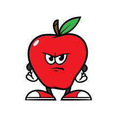 Cartoon Angry Apple Character