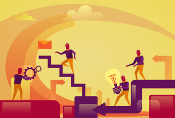 Abstract Business People Group Over Cog Wheels Background Brainstorming Process Concept Vector Illustration
