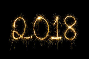 2018 written with Sparkle firework,happy new year