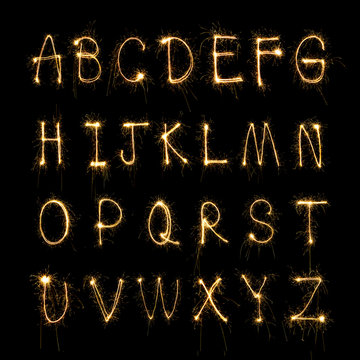 sparkler firework light alphabet