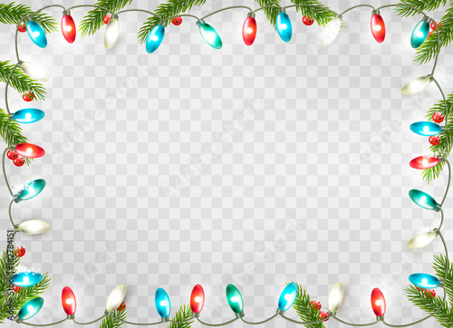 Christmas holiday decoration with branches of tree and garland on