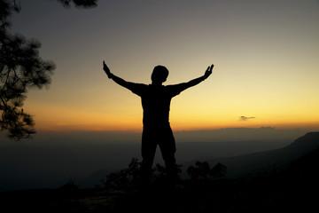 silhouette freedom lifestyle man