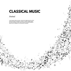 Classical music festival poster or banner template. Vector Classical Music festival text on stave background.
