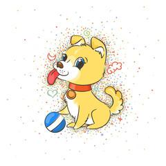 Happy golden cartoon puppy. Cute little dog wearing collar.