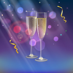 Glasses of champagne and streamer with rays of light. Champagne with bubbles in a wineglass with place for your text, 3D illustration