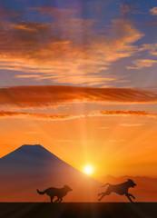 富士山と犬に朝日