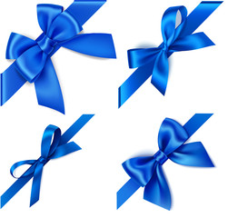 Set of decorative blue bows with diagonally blue ribbon on the corner isolated on white. Winter holiday or Fathers Day design elements. Vector illustration