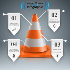 Cone repair Road infographic design template and marketing icons