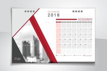 2018 November desk or table calendar, weeks start on Sunday
