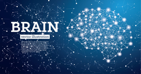 Neon Brain Connections on Blue Background.