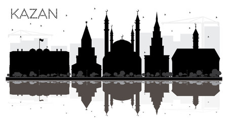 Kazan Russia City skyline black and white silhouette with Reflections.