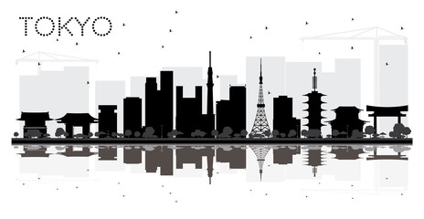 Tokyo Japan City skyline black and white silhouette with Reflections.