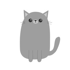 Gray cat kitten. Cute cartoon character. Kawaii animal. Funny face with eyes, moustaches, nose, ears. Love Greeting card. Flat design. White background. Isolated.