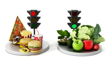 Green light for healthy food and red light for junk food. 3D illustration