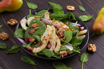 Warm spinach pear and bacon salad
