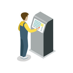 Operator assembly line isometric 3D icon