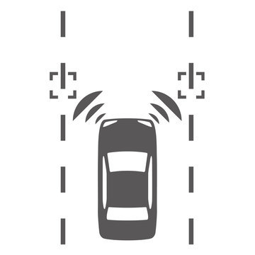 Lane keeping assist system of vehicle icon. Autonomous car.