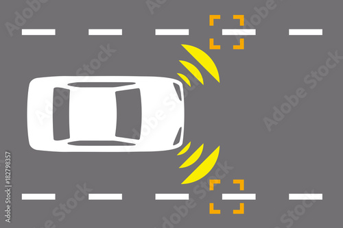 Lane Keeping Assist System >> Lane Keeping Assist System Of Vehicle Icon Autonomous Car