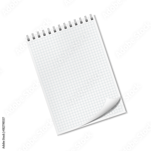 Vector vertical realistic quad ruled notepad with dog ear, turned-up ...