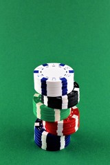 An concept Image of poker Chips with copy space