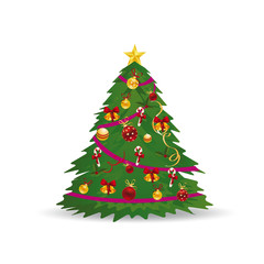 Christmas tree with toys, beautifully decorated, cartoon on white background,