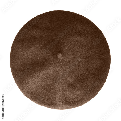 a70b10711e9 Brown beret French hat top view isolated on white