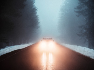 Auto frontal auf einer Waldstraße mit starkem Nebel bei eingeschalteten Scheinwerfern