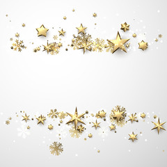 Winter background with stars and snowflakes.