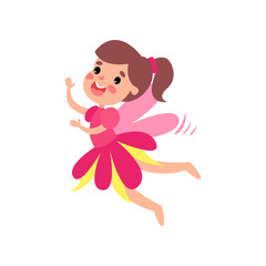 Cute happy pink fairy with wings flying cartoon vector Illustration