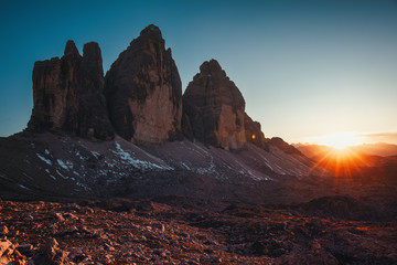 Tre Cime di Lavaredo at sunset in the Dolomites in Italy, Europe