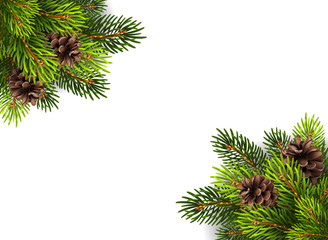Stock illustration of Christmas tree branches with pine cones