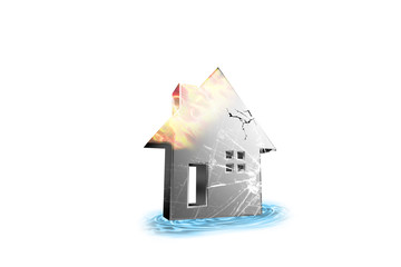 Shinny damaged silver house displayed on a color background - 3d rendering