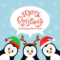 Merry Christmas in speech bubble with snowflakes and three penguins on blue background