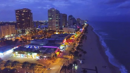 Wall Mural - Fort Lauderdale Beach at night, aerial view
