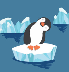 Cute penguin on ice floe