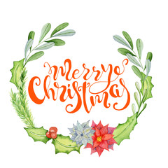 Merry Christmas watercolor card with floral winter elements. Happy New Year lettering quote