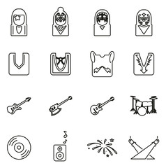 Kiss Band or Musician Icons Thin Line Vector Illustration Set