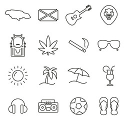 Jamaica Country & Culture Icons Thin Line Vector Illustration Set