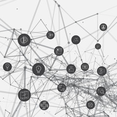 3D Abstract network mesh with bitcoin icons collection - illustration vector background