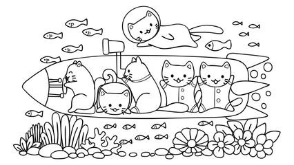 Cat in submarine