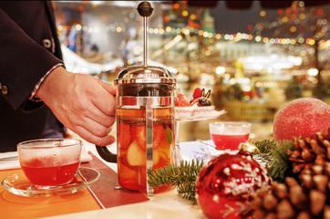 Christmas tea window on the background