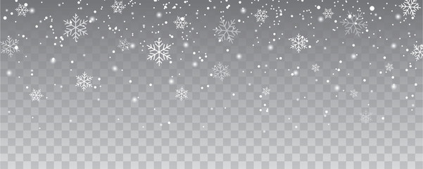 Snowflakes falling christmas decoration isolated background. White snow flying on transparent Wall mural