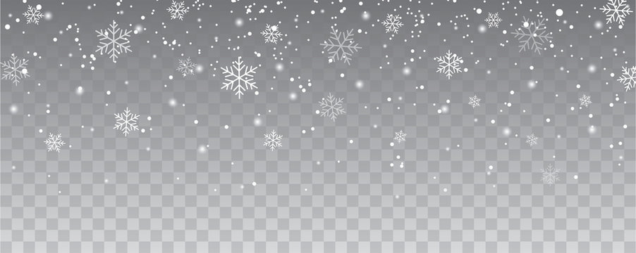 Snowflakes falling christmas decoration isolated background. White snow flying on transparent