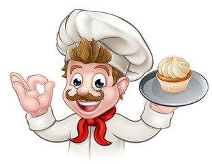 Baker Chef Cake Cartoon Character