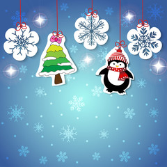 Vector and illustration of paperwork or sticker label style cartoon tag about Christmas and winter hanging on blue sky with sparkling star background