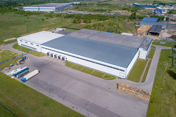 aerial view warehouse building on a summer day