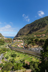 Village and Terrace cultivation in the surroundings of Sao Vicente. North coast of Madeira Island, Portugal