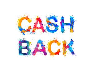 Cash back. Watercolor splash letters