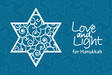 Hanukkah greeting card template. Hand drawn David star with curled pattern with handwritten lettering Love and Light on blue patterned background. Simple vector design for jewish holiday card, banner.